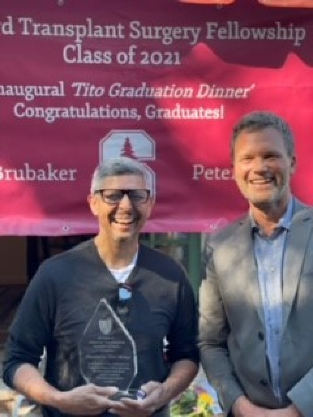 """Transplant PA, Humberto """"Tito"""" Monge receives legacy award of graduation dinner in his honor."""